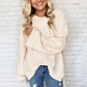 LAST💕 Oversized Taupe Popcorn Knit Pullover